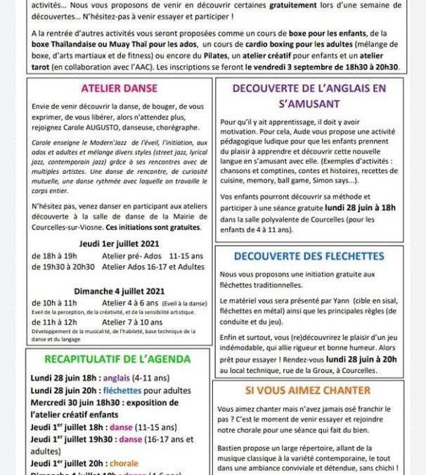 """Nouvelles activités """"Courcelles Montgeroult Sports"""""""