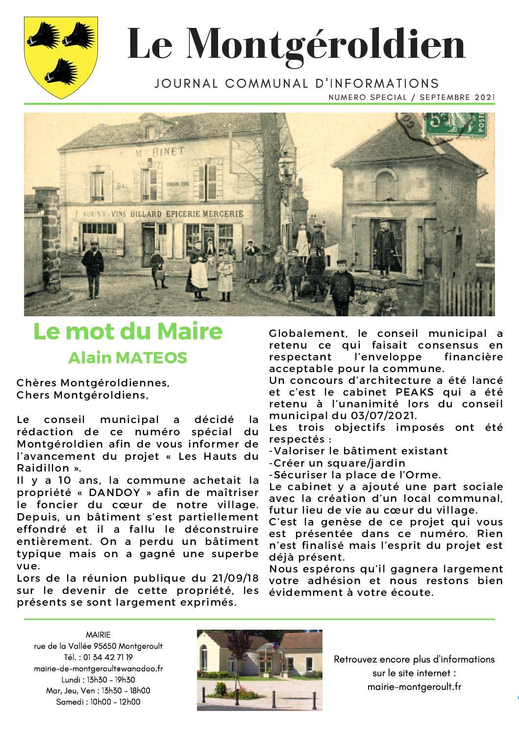 Le Montgéroldien, édition spéciale